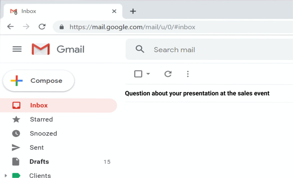 Gmail inbox Networking Email Subject Line