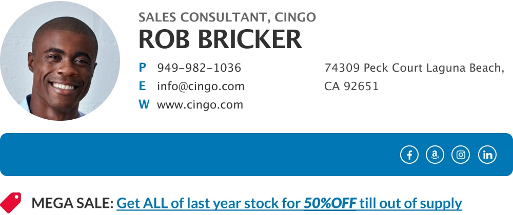 Beautiful email signature block for sales consultant with sales CTA