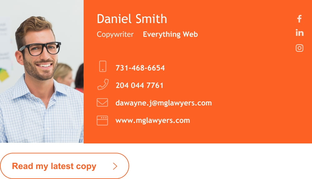 Blogger and copywriter email signature with custom button-min