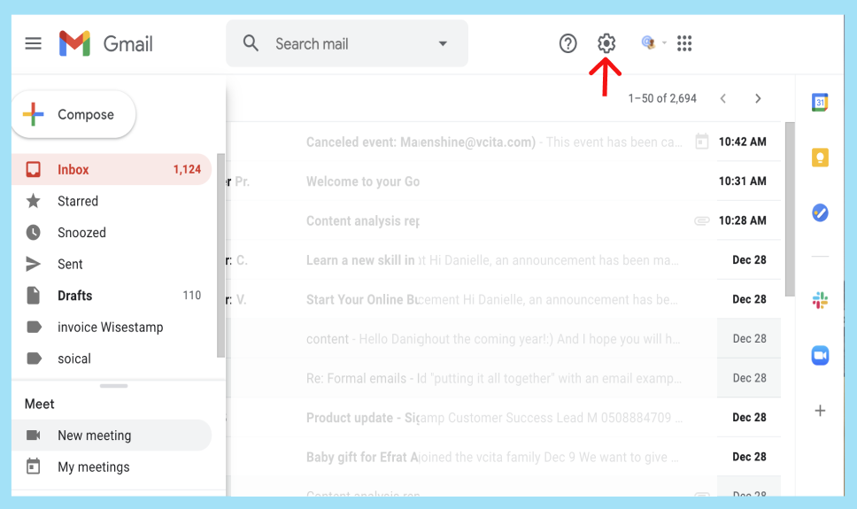 gmail inbox arrow pointing at settings icon