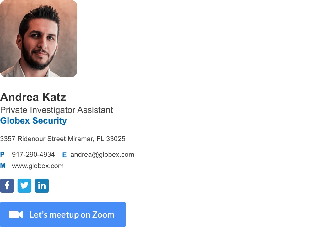 Minimalist assistant email signature template with Zoom meetup button