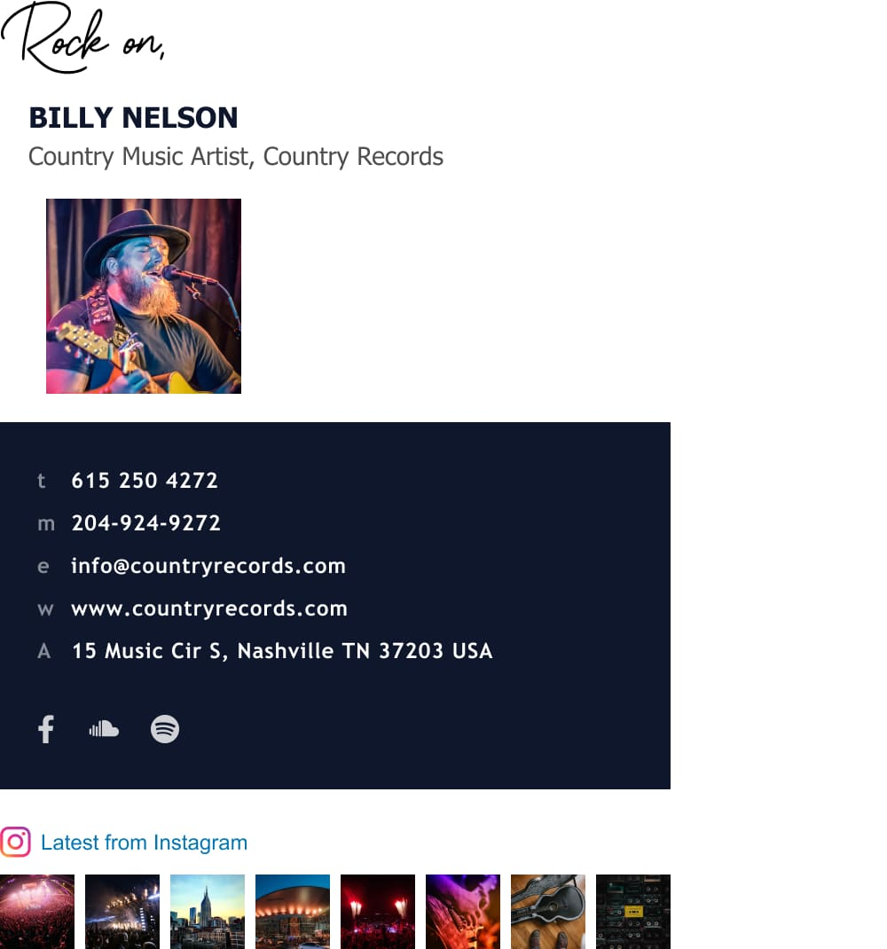 Music artist email signature template with instagram gallery-min