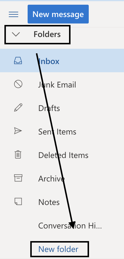How to create a new folder in outlook mail