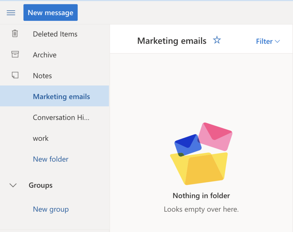 marketing emails category in outlook