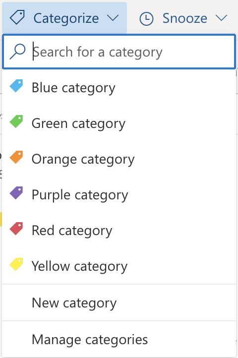 outlook mail choose a new category