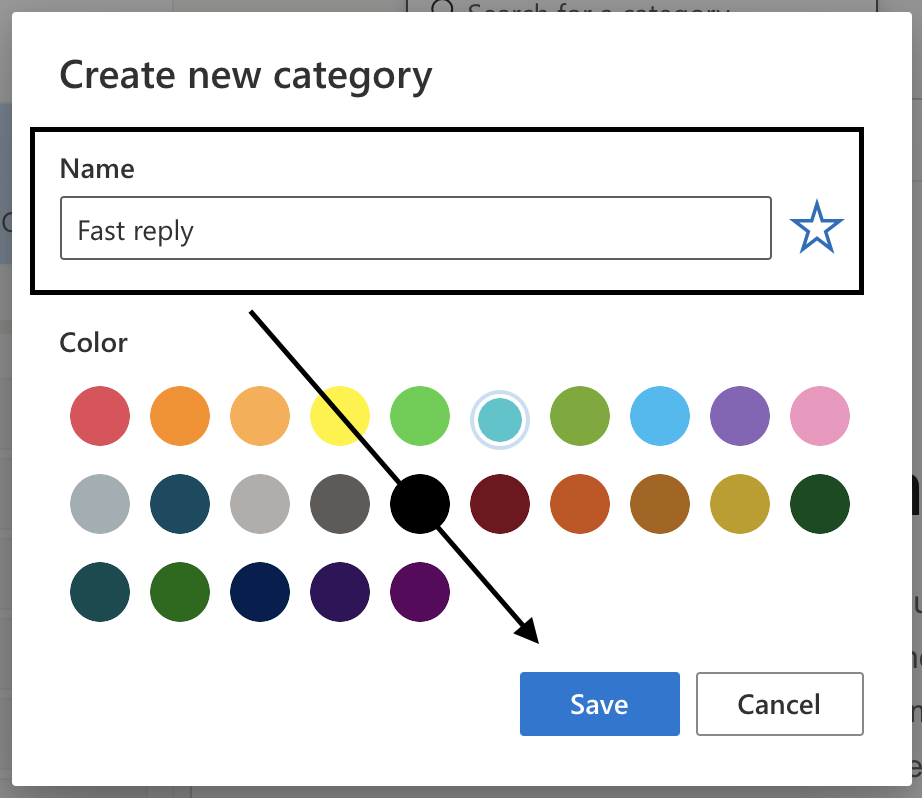 outlook mail create new category and choose a color for category
