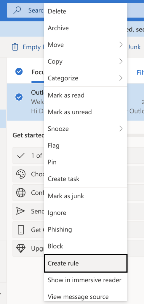 outlook mail create an automated rule