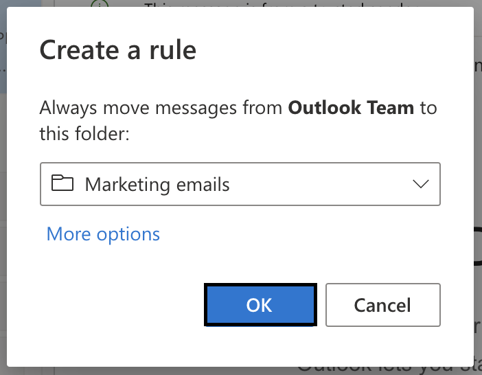 outlook mail create a rule