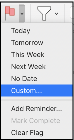 custom flags in outlook mail