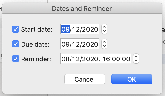 date and reminder to set a flag in outlook mail