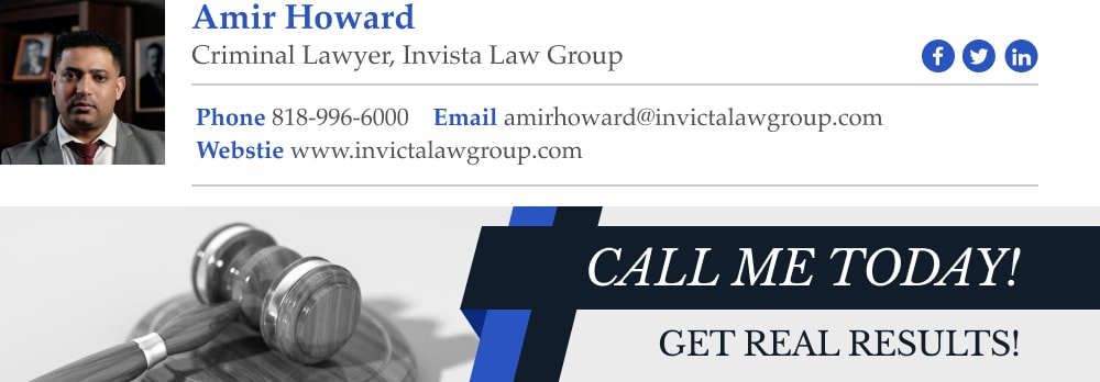 criminal lawyer email signature example with call to action banner