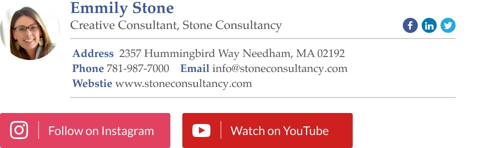 email signature example for sales professionals with social media links