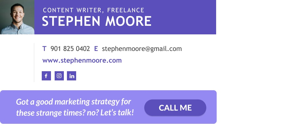 example of freelance content writer email signature with CTA banner-min