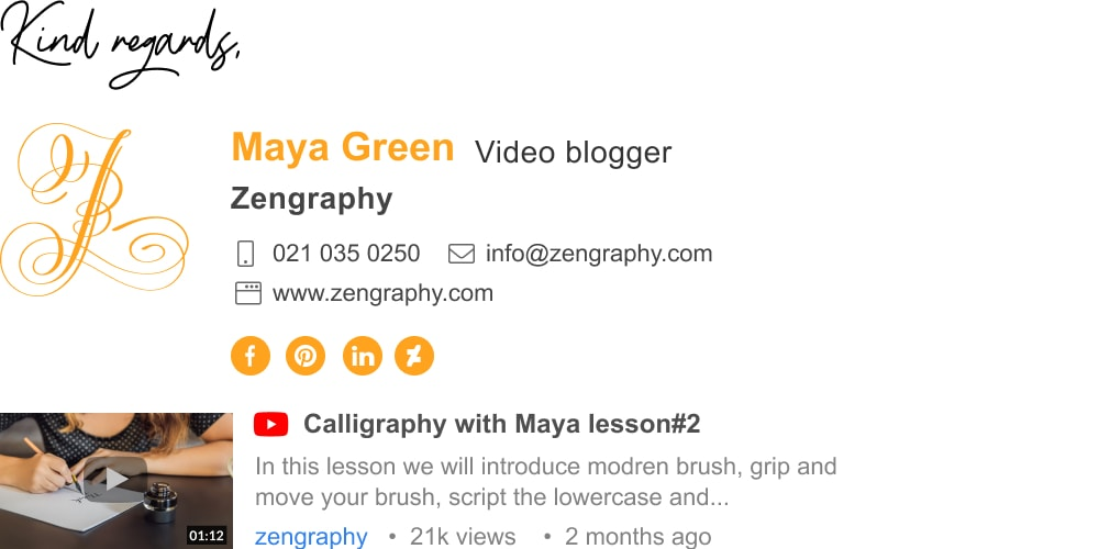 free video blogger email signature template with video thumbnail-min