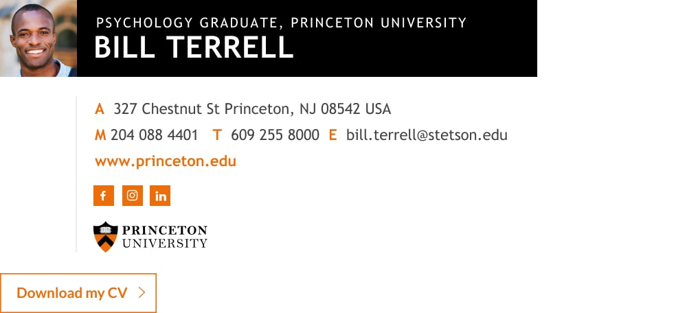 grad student email signature template with CV