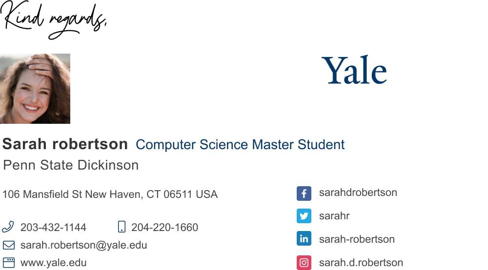 master student email signature template