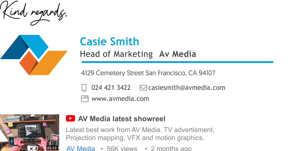 sales email signature for head of marketing with Youtube thumbnail