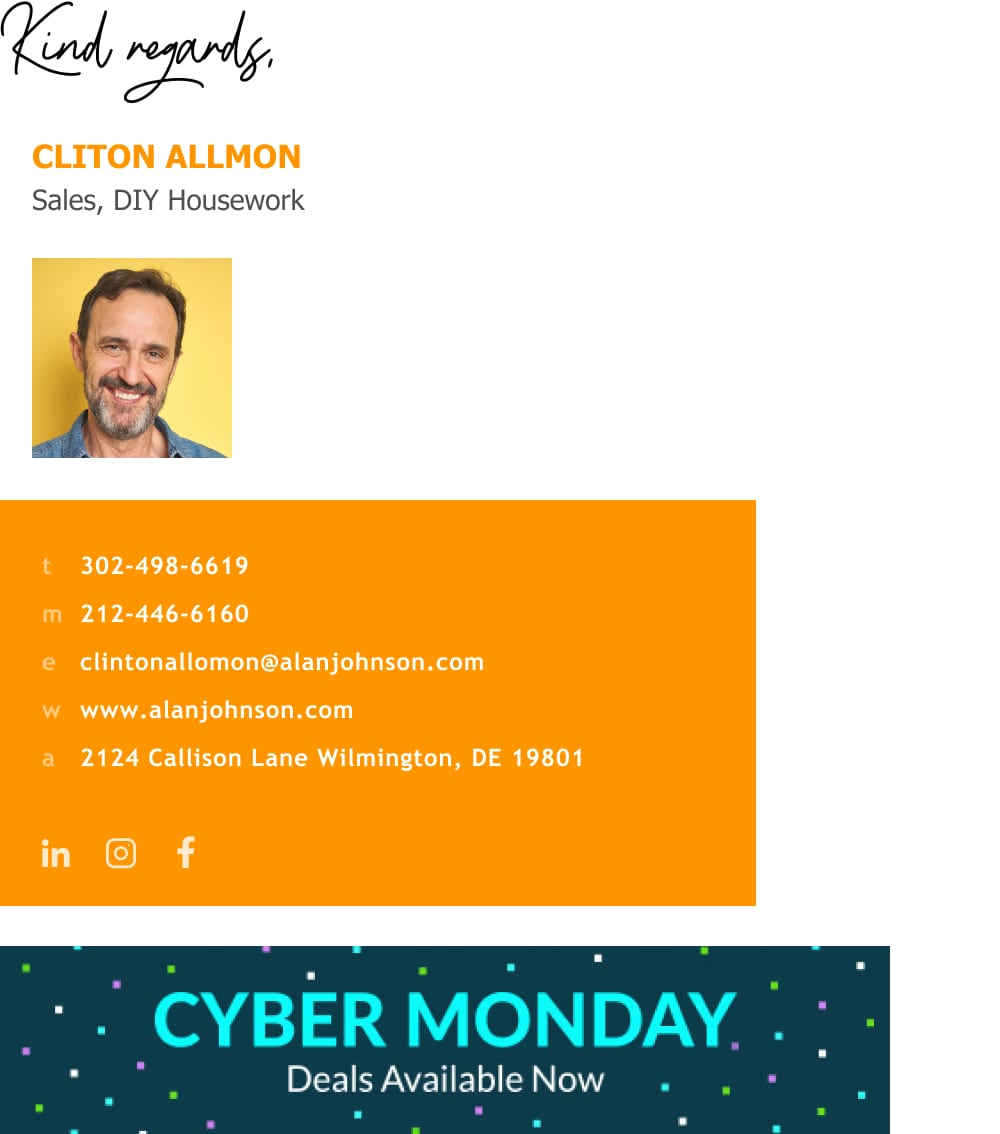 sales manager email signature with CTA banner