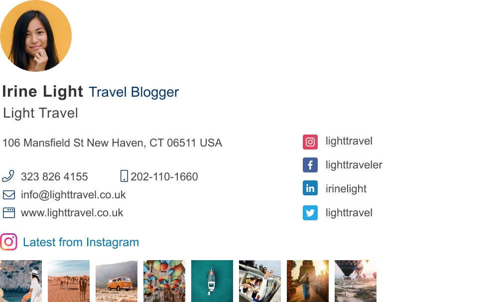 travel blogger email signature with instagram gallery-min
