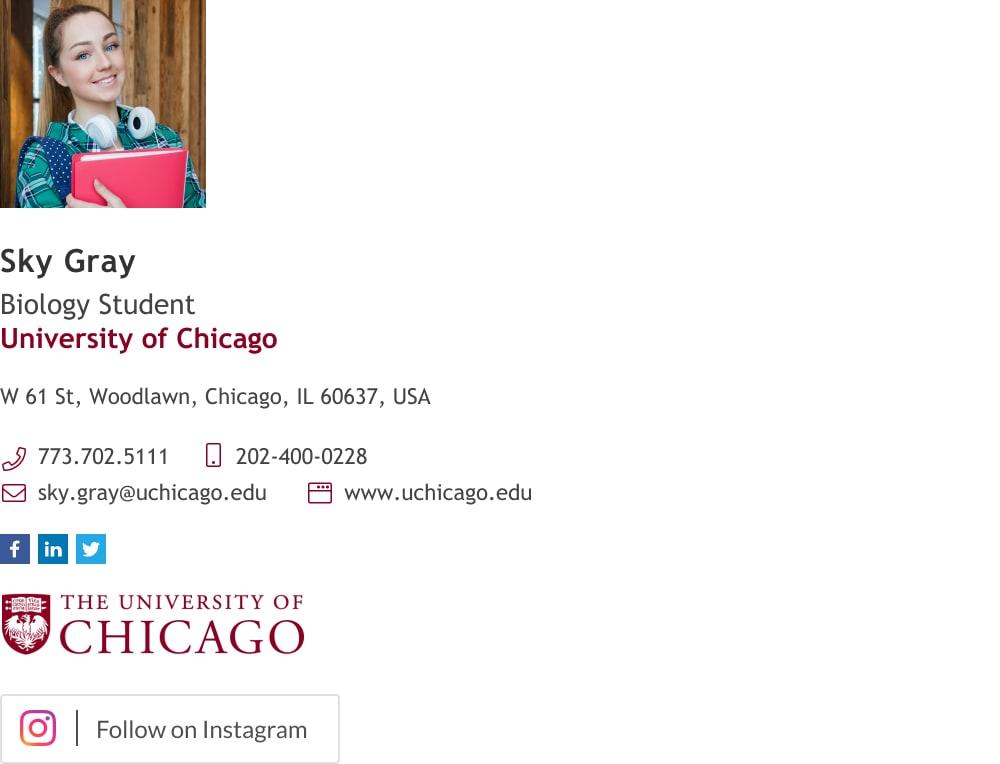 university student email signature