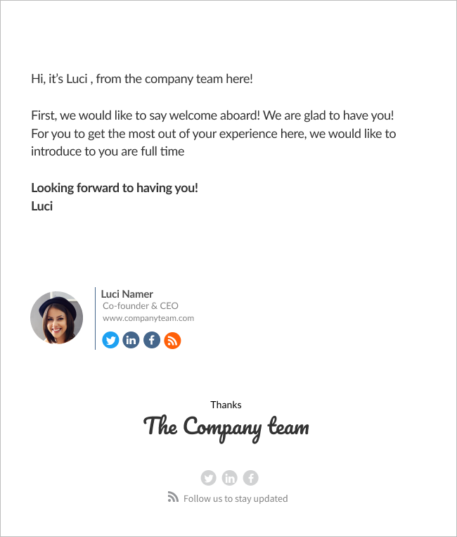 email template welcome