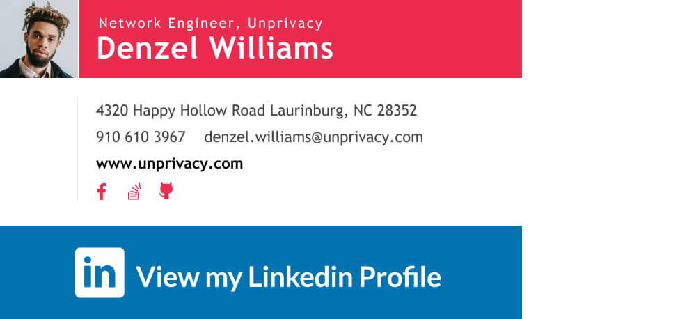 Linkedin logo banner link - view my profile
