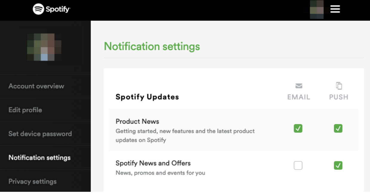 spotify example provides options to your subscribers to increase Email deliverability