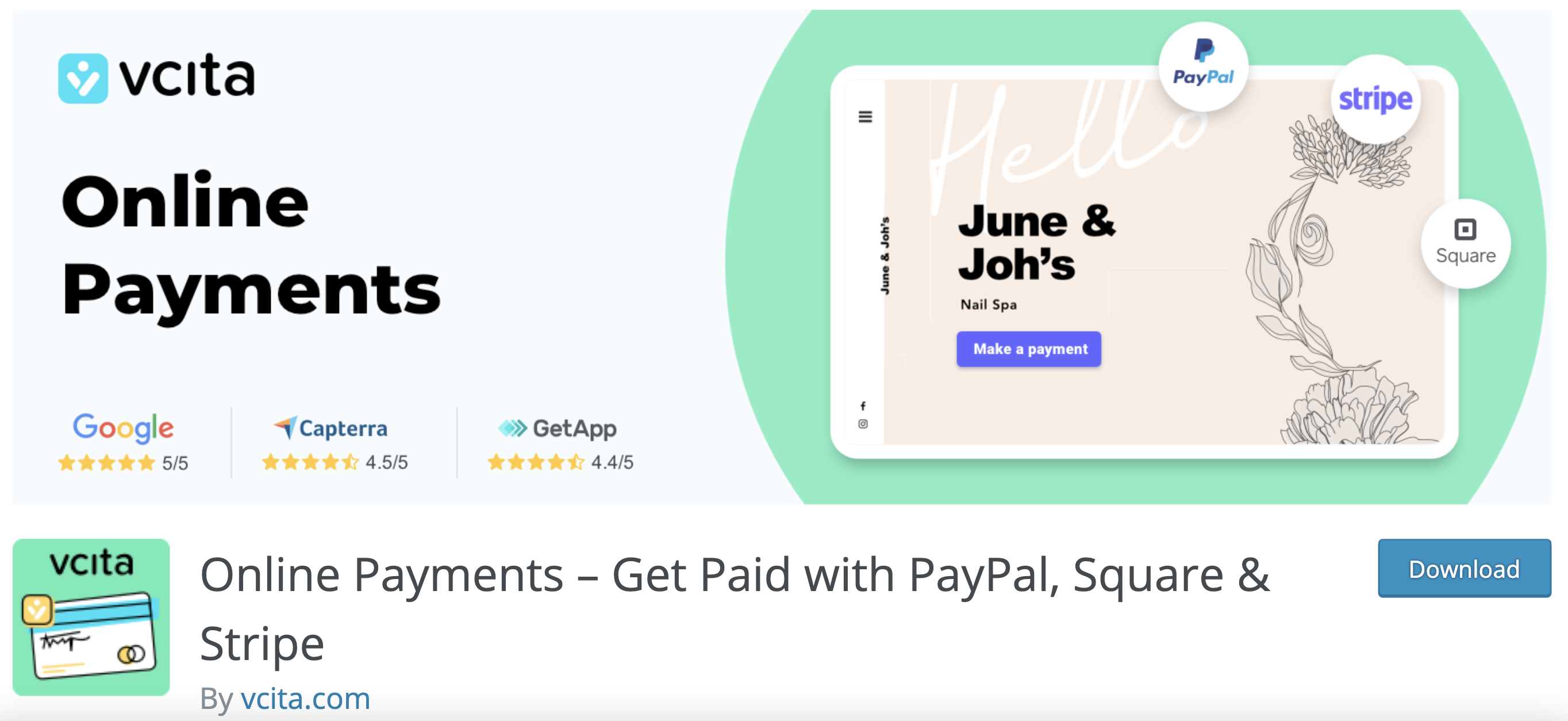 vcita payment solution plug in on wordpress