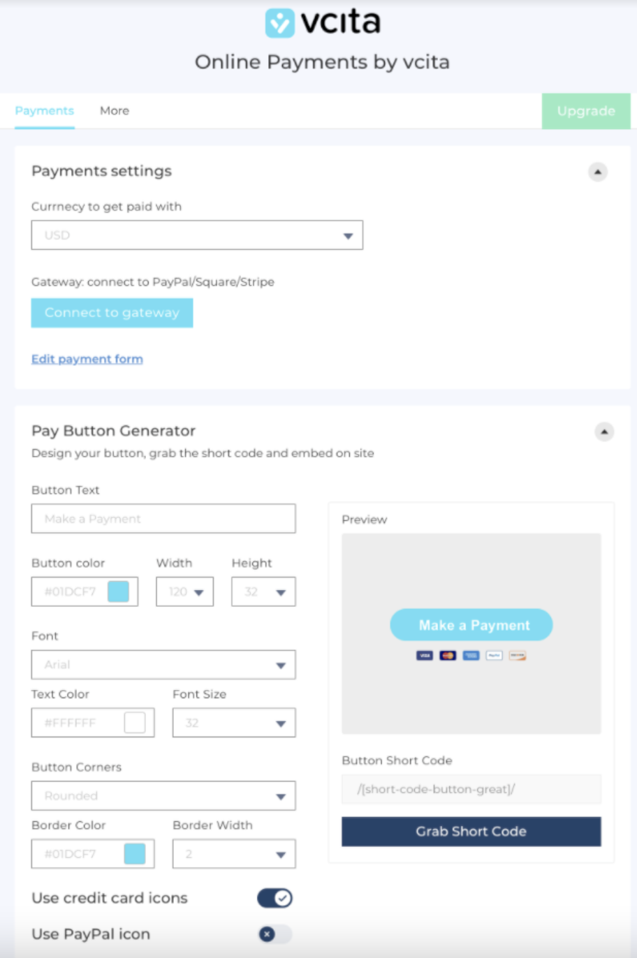 vcita payment solution plug in on wordpress set up
