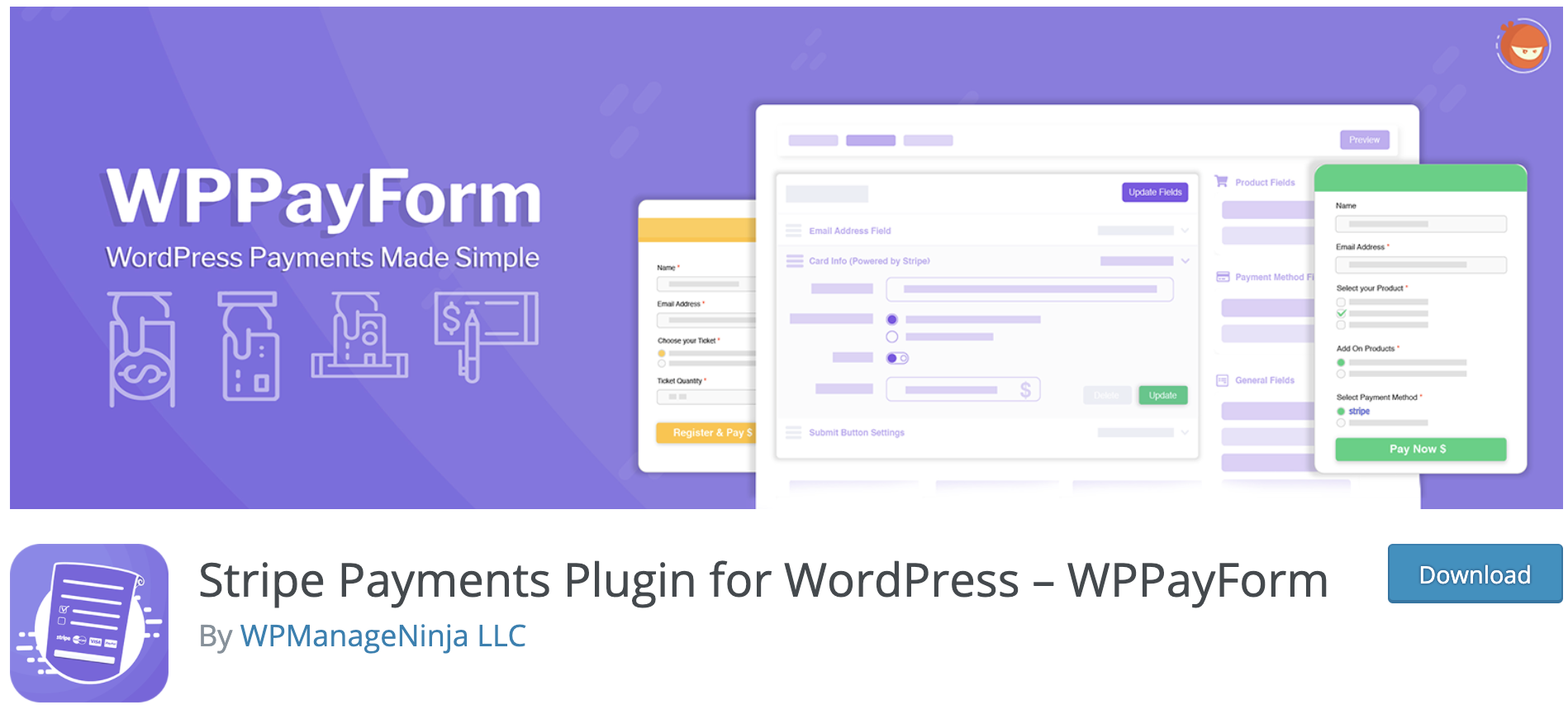 wp pay form payment solution plug in on wordpress