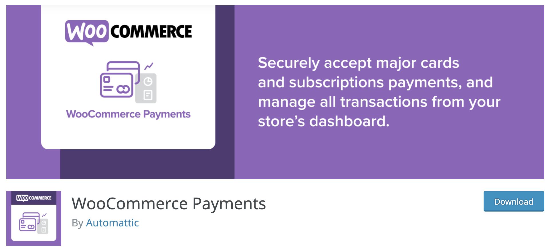 WooCommerce Payments plugin on wordpress