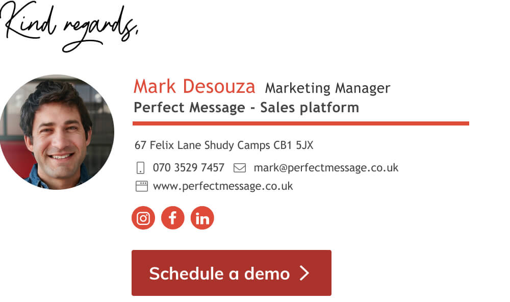 email signature marketing manager template with schedule a demo button