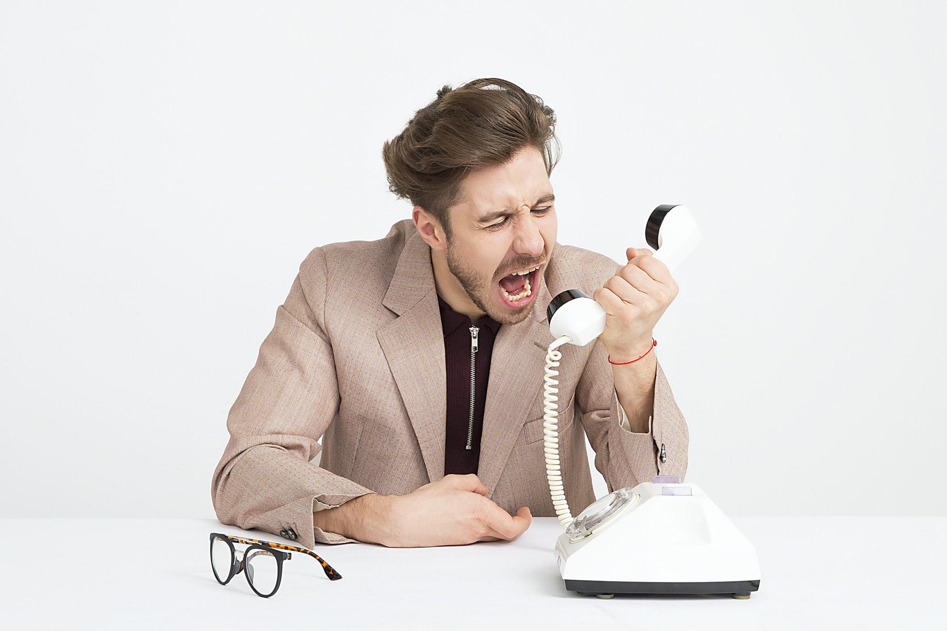 a man yelling via the phone