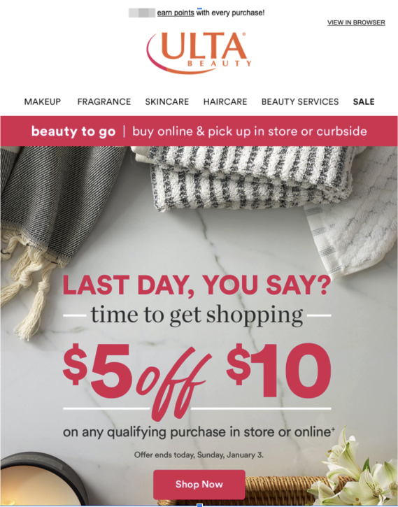 Ulta email example for Email Deliverability