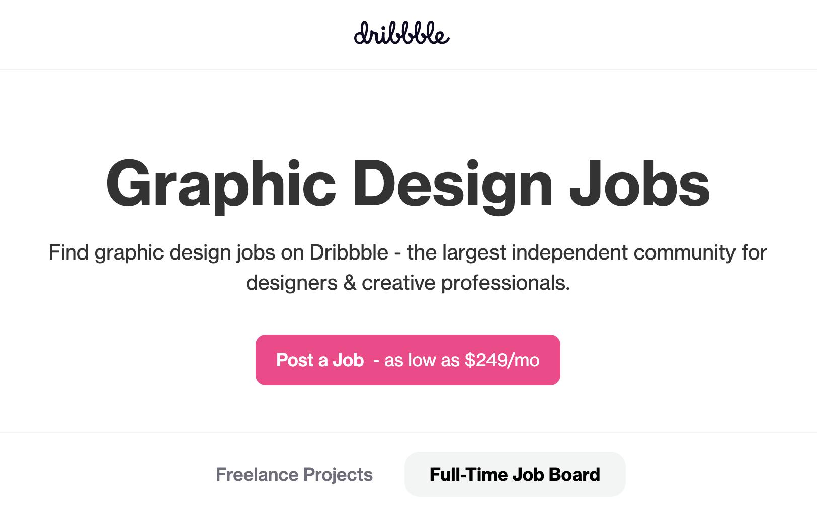 Dribble - best website for grapphic design freelance jobs freelance