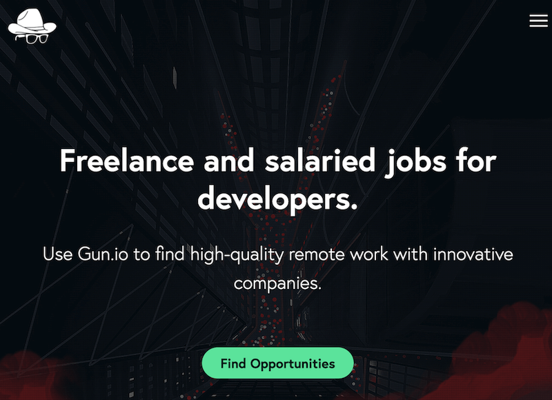Gun.io - best sites for Freelance and salaried jobs for developers