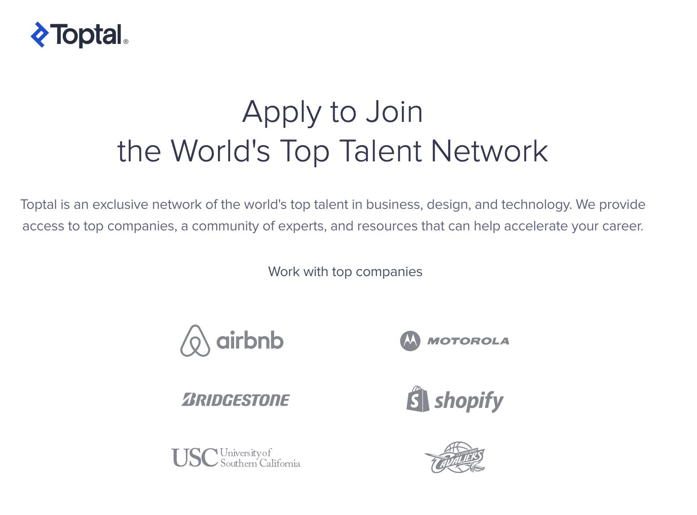 Toptal - best website for developers and design freelance work