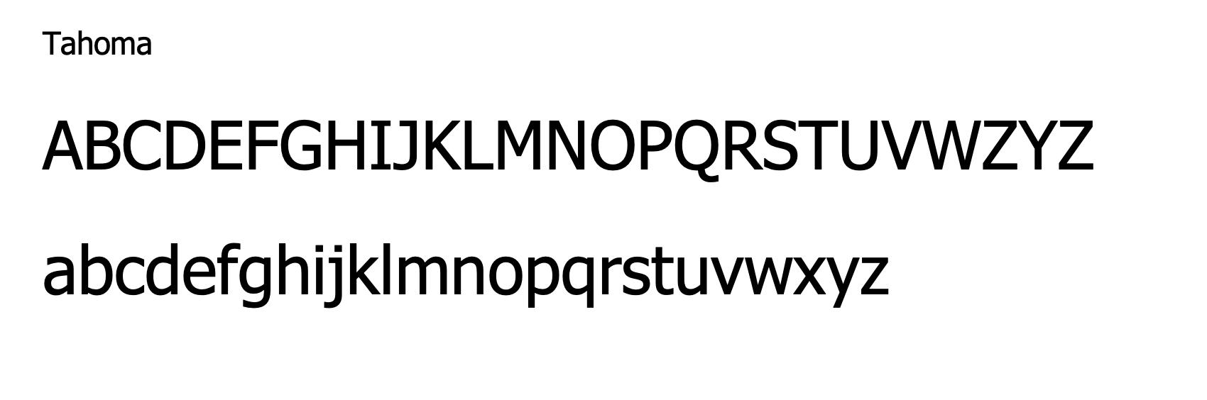 Tahoma - web safe email signature font