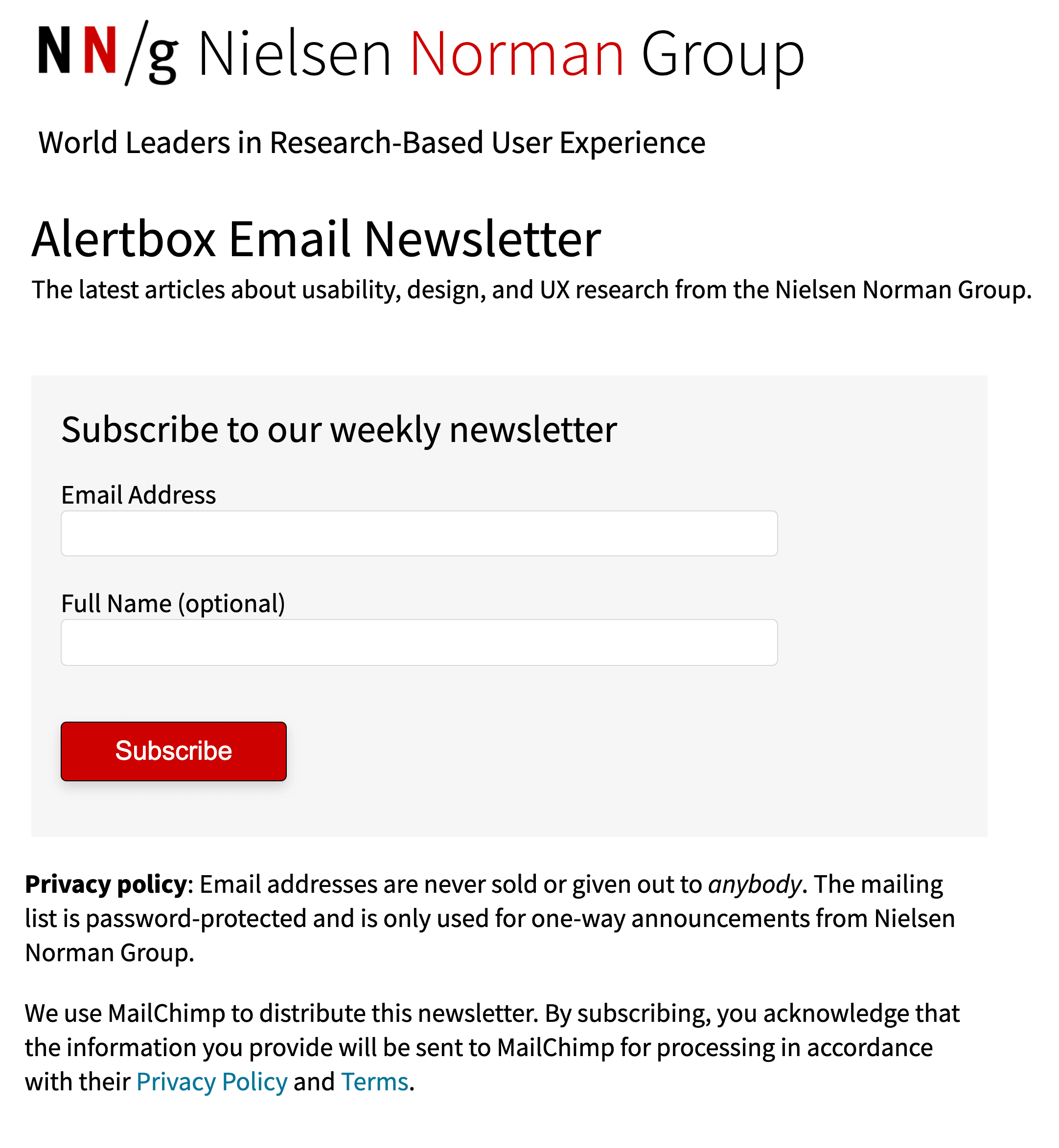 example of a clear opt in email form that creates trust by NNG
