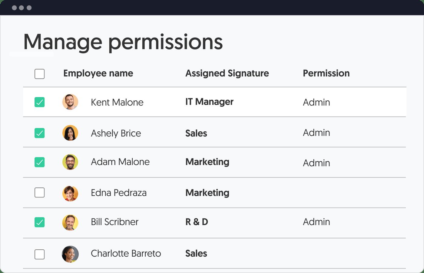 manage email signature user permission