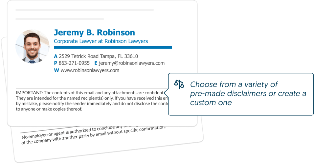 Email signature example with disclaimer - good for business