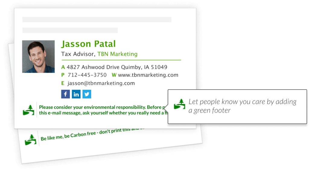 personal email signature example with green footer