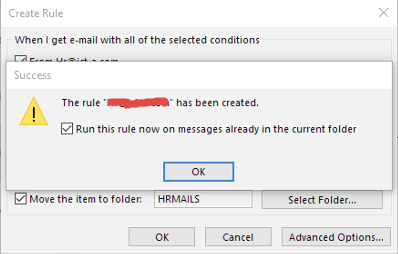 5. outlook incoming emails into specific folders automatically