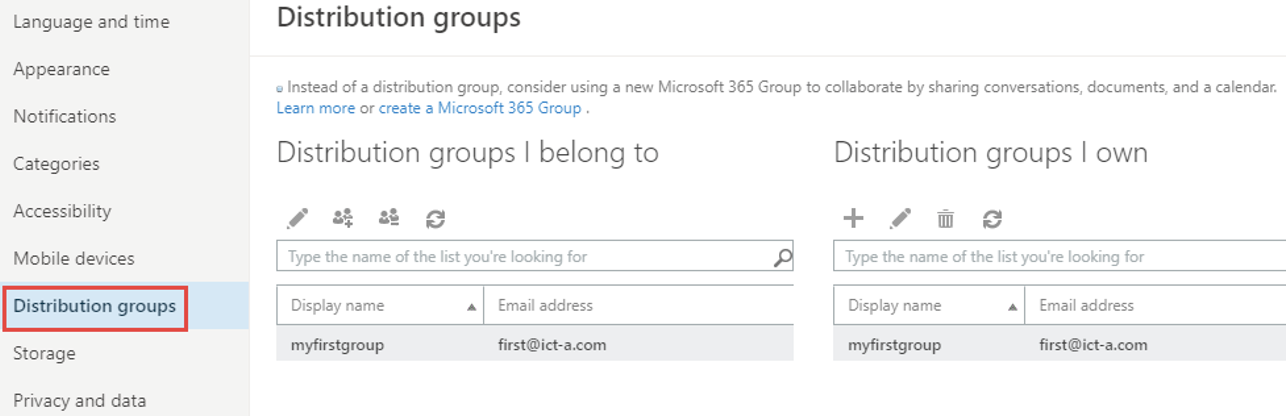 """From the Settings page, click on General and choose """"Distribution groups"""" to reveal existing distribution groups."""
