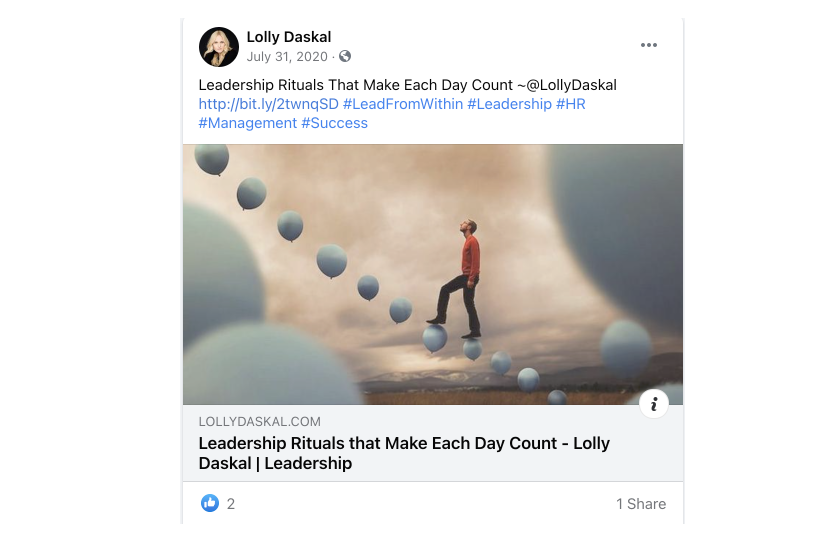 a post by Lolly Daskal on Twitter that reperests personal branding by being consistent with brand content