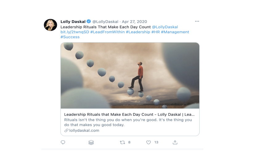 a post on Facebook by Lolly Daskal that reperests personal branding by being consistent with brand content