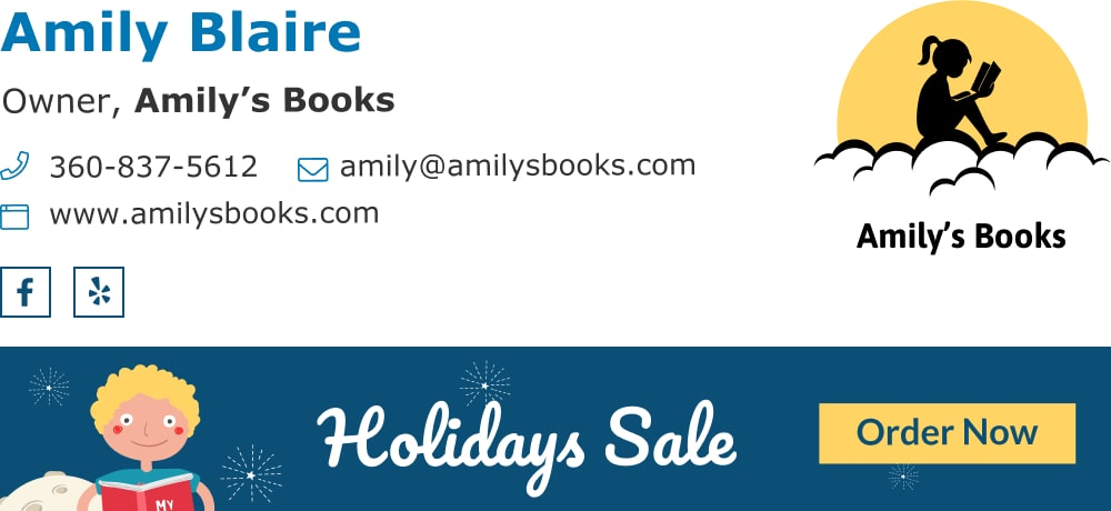 Book shop owner with a modern email signature and banner