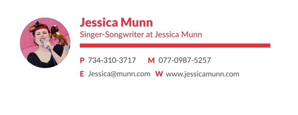 Professional singer email signature with a image