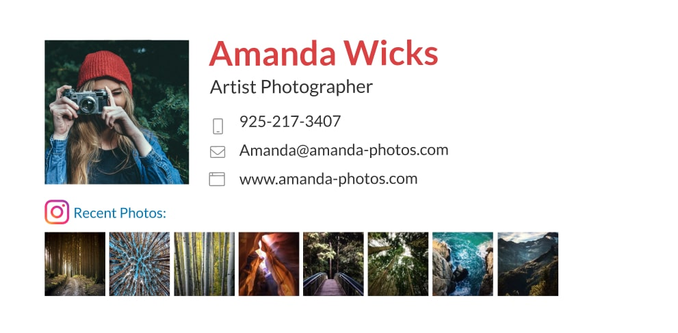 Photographer email signature with instagram addon