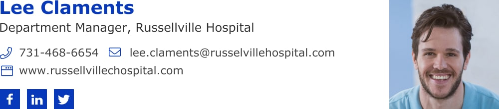Rightside doctor email signature with social icons